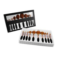 Wholesale 10pcs SET Artis brushes golden Toothbrush Shaped Foundation Power Makeup Oval Cream Puff Brushes Makeup Brushes concealer toothbrush