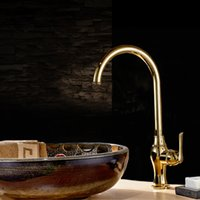 Wholesale Golden Sink Faucet Luxury Brass Cermic Plate Spool Hot and Cold Water Taps for Kitchen and Bathroom Single Handle