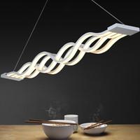 al por mayor luces de comedor-Nuevo diseño de la forma de onda 80W modernas lámparas colgantes para comedor regulable llevó la luz de la lámpara lamparas colgantes creativa