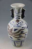 antique chinese vase - China s yuan dynasty blue and white grain double ears porcelain vase Chinese art collection of high quality goods Antique ancient porcelain