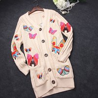 apricot computers - 2016 Apricot Hook Flower Butterfly Embroidery Autumn Long Cardigans High End Brand Same Style Thick Sweaters