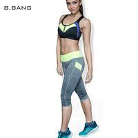 Wholesale B BANG Brand Women Sports Leggings Capris Fitness Running Gym Legging High Elastic Slim Pants Stretch Workout Pants