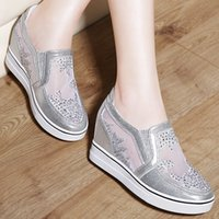 Wholesale Sexy Heavy Bottom - Heels Sexy increased inner spring and summer shoes mesh sandals heavy-bottomed platform shoes flat shoes Loafers casual shoes hot quality
