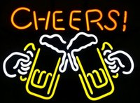 Wholesale Cheers Real Glass Neon Light Sign Beer Bar
