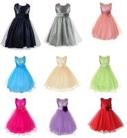 Wholesale 2016 New Party Dresses Girls Dresses Girls Polyester Sequins Dresses With Flower Children Clothing Girl Fashion Dresses