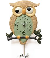 Wholesale Lovely children love cartoon resin owl shape wall clock for kid living room bedroom silent swing clock