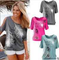 Women Scoop Neck Short Tee Shirt Femme T-Shirt Women Off Shoulder Top Feather Print Short Sleeve Off The Shoulder Tops For Women hight quality free shipping