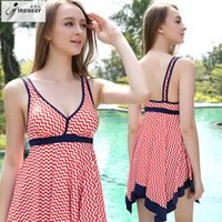 Wholesale Jin Xueer will Code block Lin tai full skirt Swimming dress gather together Student conservative Cover the belly hot spring chest swimming s