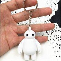 Wholesale 6cm Big Hero Baymax cute pvc cartoon Movies Accessories doll keychain white baymax pendants kid toy in opp bag high quality