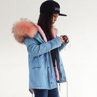 adjustable hood - Pink furs mini parka women winter coat hood with Nagymaros real raccoon furs collar mr mrs same style