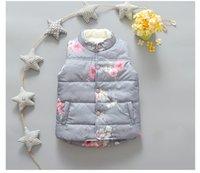 add lines - 2016 winter girls waistcoat flower printed grey sleeveless add wool good quality warm wanter kids outwear I201681901