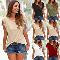 Wholesale Hot Women Summer Loose T Shirt O Neck Tassel Solid Short Sleeve Shirt Blouse Casual Tee Tops Female T Shirt