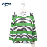Wholesale OshKosh Boys Polo Classic Striped T shirts for Kids Boys School Clothes Autumn Casual Polo Tops Children Green Tee Long Sleeves