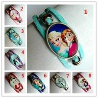 Wholesale 24pcs Mixed models Time gem bracelet Elsa Anna Olaf Bracelet for Girls Glass bracelet Handcuffs bracelet Cartoon Movie bracelet