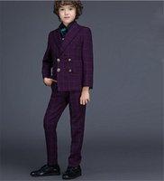Wholesale Hot Sale Button Boy Tuxedos Notch Lapel Children Suit Purple Kid Ring Wedding Prom Suits Jacket Pants Vest