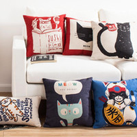 adult reading books - 45cm Thicker The Cat Read Book Animals Cotton Linen Fabric Throw Pillow inch Handmade Fashion New Home Bar Decor Sofa Back Cushion