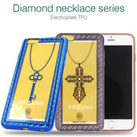 apple necklaces - Diamond necklace Electroplate Plating TPU For Samsung Iphone Mobile Cell Phone Case Cover s New Freeshipping s Plus S7 Edge Shine Cute