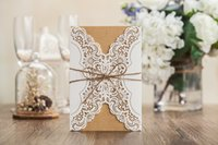 Wholesale Vintage Wedding Invitation cards Laser Cut Birthday Party Marriage Invitations Greeting Card Kits