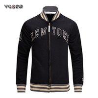 clothing new york - New fashion New York Men baseball jacket long sleeve stand collar cotton fleece university jacket brand clothing bomber jacket