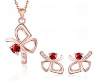 Wholesale women s jewelry The butterfly gem earrings and Pendant necklace Three color optional
