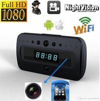 Wholesale Wifi HD P Night Vision Motion Detection Surveillance Wireless Spy Hidden Camera Alarm Clock DV IP Camcorder