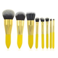best kabuki brush - Best Sale High Quality Lemon Yellow Multi Function Makeup Brush Sets Kits Synthetic Kabuki Makeup Brush Sets