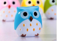 Wholesale 1 piece Owl Pencil Sharpener For Pencils Pencil Sharpener For Cosmetic flash music school sharpeners kawaii sharpened pencil sharpeners