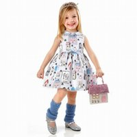 american doll house - New Baby Vest Dress Girls Doll collar chiffon dress Small house printed princess dresses