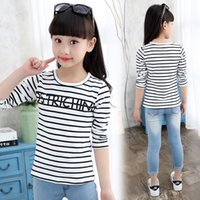 Wholesale Girls black and white striped long sleeved autumn coat children s T shirt in the spring of spring cotton bottoming shirt