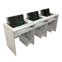 Wholesale Three person bit flip computer desk Hide desktop display computer desk