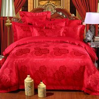 best hand cleaner - Dard red Tencel Cotton Jacquard Wedding Bedding Sets Queen King Size Duvet Cover Bed Sheet Pillowcase Best Selling goods