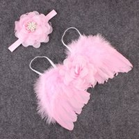 angle photography - Baby Accessories Angle Feather Wings Newborn Kids Photography Prop With Rhinestone Headband Infant Outfit Sets
