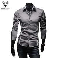Wholesale 2016 Hot Mens Shirts Men s Dress Shirt Casual Slim Fit Stylish Long Sleeved Shirts Colors Size M XXXL