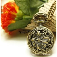 affordable necklace - Affordable o Europe cute small dragonfly retro fashion watch small bronze flip Pocket Watch Necklace