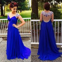 beautiful pregnant images - 2016 Royal Blue Long Elegant Evening Dresses With Crystals Chiffon Party Dress Beautiful Empire Pregnant Women Gowns Custom Made