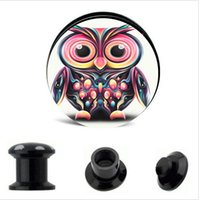acrylic owl - Fashion Lovly Owl Animal Logo piercing flesh tunnel plugs wholesales body jewelry tunnels earring gauges