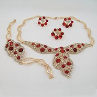 african items - Fashion Imitation Red Rose Rhinestone Bridal Jewelry Set Hot Selling Necklace Jewelry Sets Gold Plated Item Type