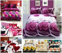 al por mayor bed sheets 3d-Nuevos sistema del lecho 4pcs de la flor 3D, cubierta vegetal diseño del edredón / ropa de cama / ropa de cama / juego de cama / hoja de cama / funda de edredón / fundas de almohada