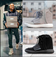 Wholesale 2016 new With Box Boost Kanye West Leather Ankle Boots Mid Cut Men s Sport Running Shoes US Size