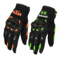 al por mayor xxl leather motorcycle racing gloves-¡VENTA !! Verano Invierno Full Finger KTM motocicleta guantes gants moto luvas motocross cuero moto guantes KAWASAKI moto racing guantes