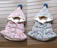 Wholesale SALE winter girls jacket coats baby fur vest Floral Cotton vest Girls Waistcoat Outwear Baby Kids Clothing