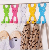 Wholesale 5 color LJJK342 Cartoon rabbit Creative Colorful Hanger Door Back Bag Hook Stainless Steel Back Bag Hook Hanger Organizer Holder
