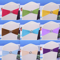 Wholesale 100pcs Elastic Lycra Chair Sashes Wedding Spandex Stretch Chair Band With Plastic Crown Buckle Colors Chair Bands Bow