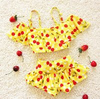 Wholesale 2016 Korean Children s Swimwear Hot Springs Girl Baby Child Boxer Split Bikini Cute Japanese Cherry Swimwear Suit Top Shorts Two Piece