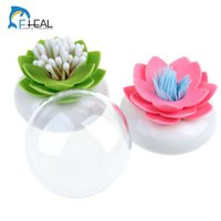 Wholesale Beautifully Lotus Seat Toothpick Boxes Cotton Swab Tube Transparent Dust Cover Toothpick Holder Ornaments