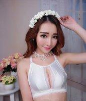 Wholesale Hollow gather girls underwear wire free bras sets