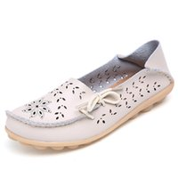 bid shoes - Summer hollow out Women Genuine Leather Mother Shoes Moccasins Soft Leisure Flats Female Driving Flat Loafers bid size