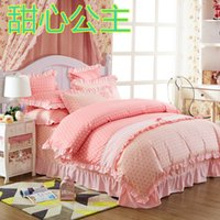 Wholesale New Arrivel Cotton Classic Girls Princess Lace set Bedding Sets Bedroom Bed Duvet Cover queen size comforter set
