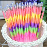 Wholesale 50pcs Rainbow Pen Gel Pen Refills Marker Pens in Color Pen Refills Marker Pen Student Stationery Material Escolar