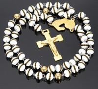 Refroidir chaîne bijoux vente chaude de Rosaire des femmes des hommes Collier en acier inoxydable 316L Or Religous Cross White Ball 8mm